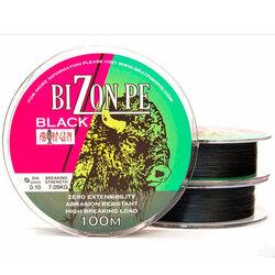 Шнур плетеный рыболовный BIZON BLACK 100 m.