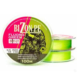 Шнур плетеный рыболовный BIZON FLUOR GREEN 100 m.