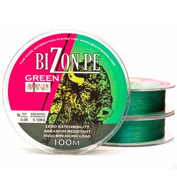 Шнур плетеный рыболовный BIZON GREEN 100 m.